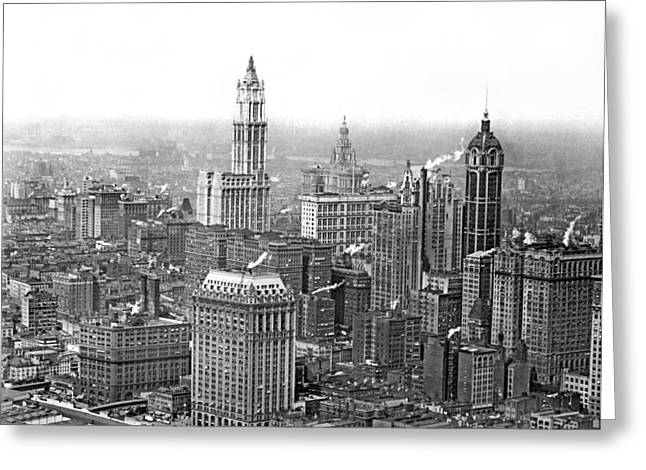 The Ny Financial District Greeting Card by Underwood Archives