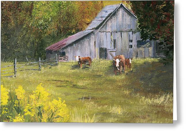 THE OLD COW BARN Greeting Card by Bev Finger