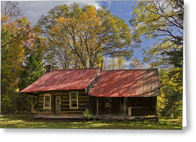 Red Roofed Barn Greeting Cards - The Old Homestead Greeting Card by Debra and Dave Vanderlaan