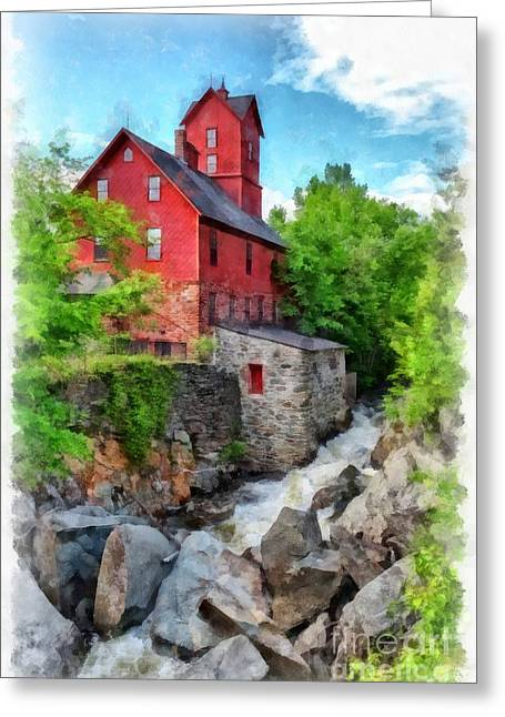 Water Mill Greeting Cards - The Old Red Mill Jericho Vermont Greeting Card by Edward Fielding