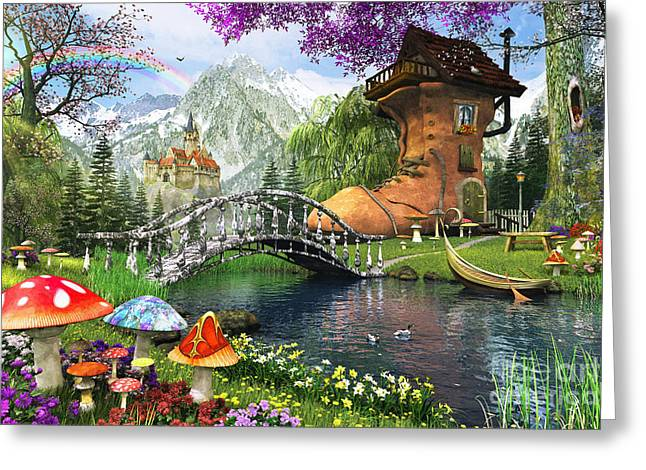 Old Boot Greeting Cards - The Old Shoe House Greeting Card by Dominic Davison