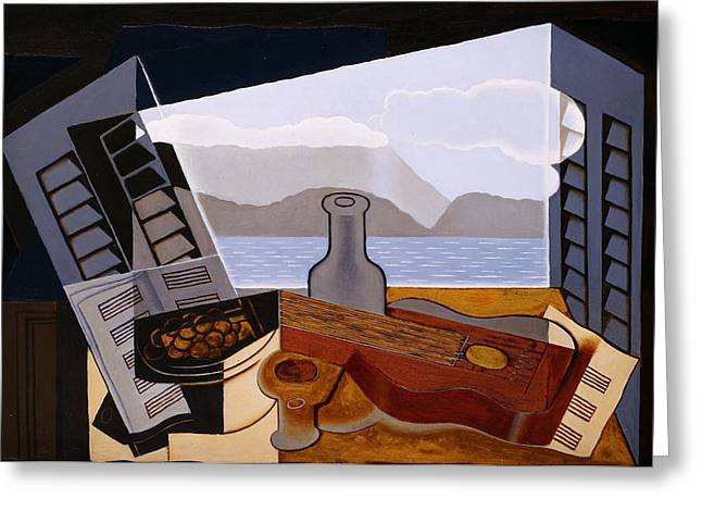 Open Window Paintings Greeting Cards - The Open Window  Greeting Card by Juan Gris