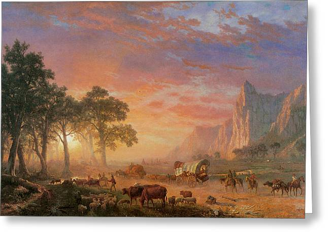 Indian Warriors Photographs Greeting Cards - The Oregon Trail Greeting Card by Albert Bierstadt