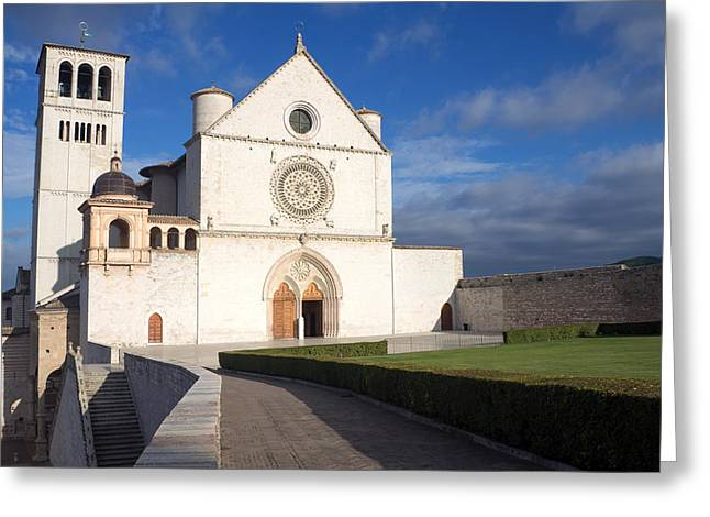 Medieval Temple Greeting Cards - The Papal Basilica of St. Francis of Assisi  Greeting Card by Jaroslav Frank