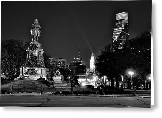 Parkway Digital Greeting Cards - The Parkway at Night Greeting Card by Bill Cannon
