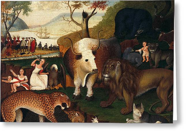Peaceable Greeting Cards - The Peaceable Kingdom Greeting Card by Edward Hicks