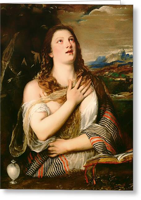 Religious Artwork Paintings Greeting Cards - The Penitent Magdalene Greeting Card by Titian