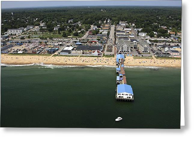 Maine Beach Greeting Cards - The Pier At Old Orchard Beach, Maine Greeting Card by Dave Cleaveland