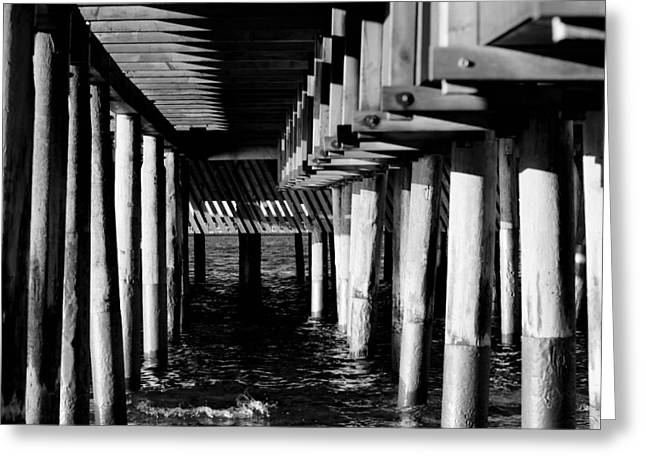 York Beach Mixed Media Greeting Cards - The Pier in Black and White Greeting Card by Toppart Sweden