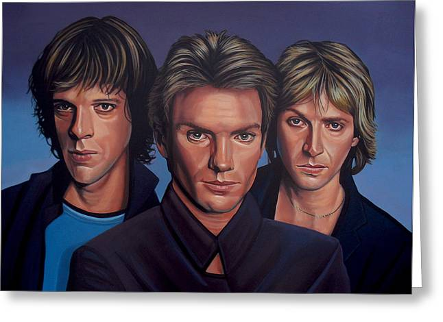Singer Paintings Greeting Cards - The Police Greeting Card by Paul  Meijering