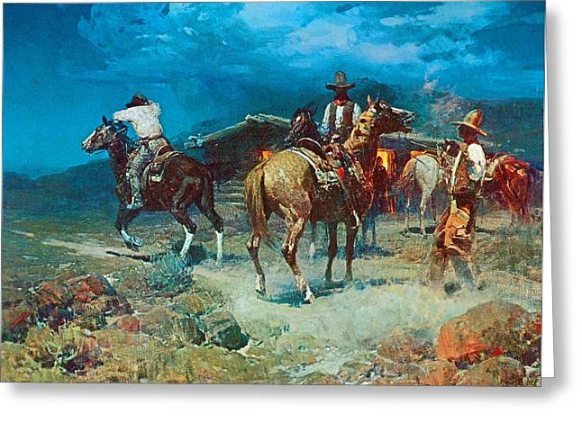 Westen Greeting Cards - The Pony Express Greeting Card by Frank Tenney Johnson