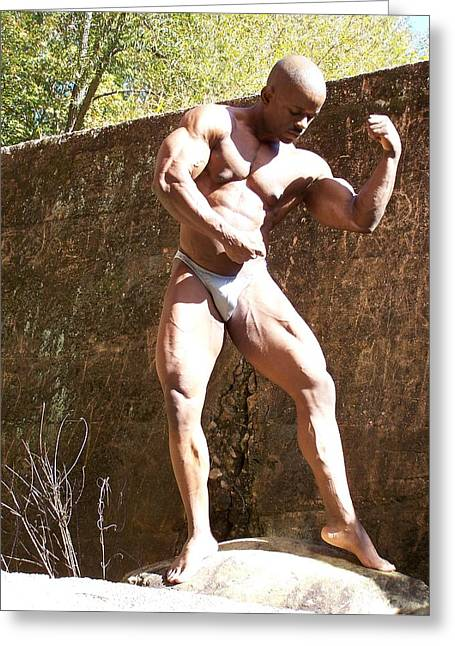 Stock Muscle Photos Greeting Cards - The Pose Greeting Card by Jake Hartz