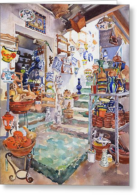 Interior Still Life Paintings Greeting Cards - The Pottery Shop Greeting Card by Margaret Merry