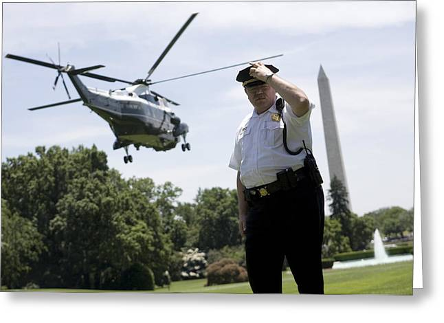 Michelle Obama Photographs Greeting Cards - Marine One Greeting Card by JP Tripp