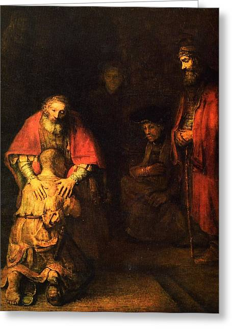 """storm Prints"" Drawings Greeting Cards - The prodigal son Greeting Card by Rembrandt"