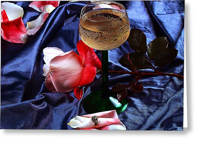 Champagne Glasses Greeting Cards - The Proposal Greeting Card by Camille Lopez