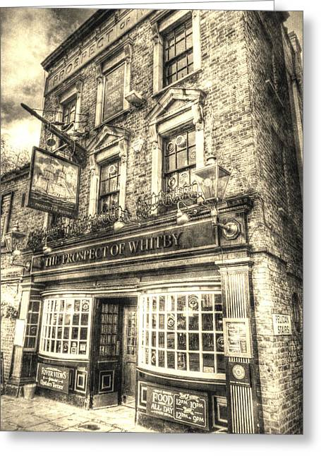 Prospects Greeting Cards - The Prospect Of Whitby Pub London Vintage Greeting Card by David Pyatt