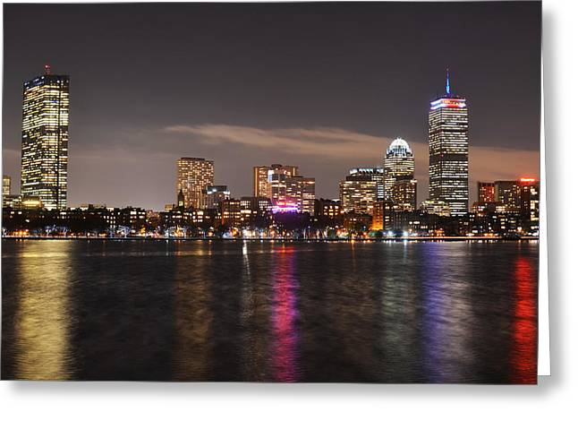 Boston Ma Greeting Cards - The Prudential lit up in red white and blue Greeting Card by Toby McGuire