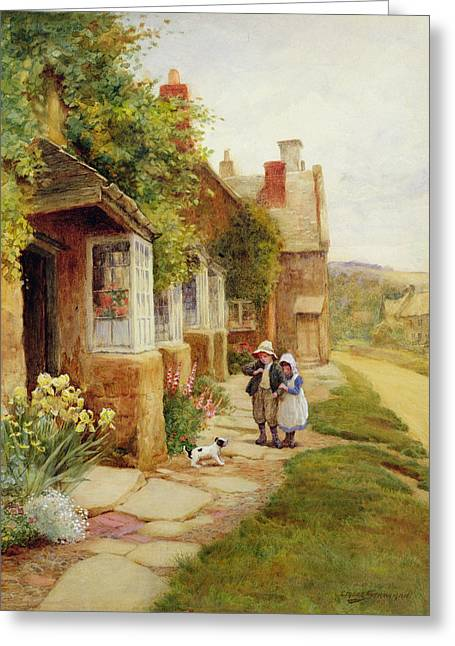 The Puppy Greeting Card by Arthur Claude Strachan