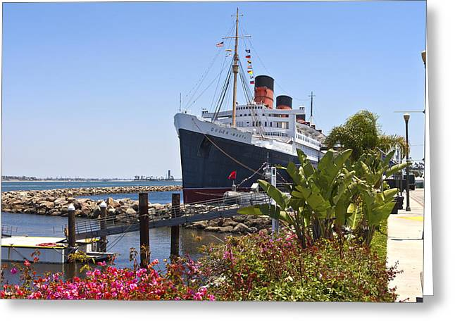 Visitor Center Greeting Cards - The Queen Mary Long Beach California. Greeting Card by Gino Rigucci