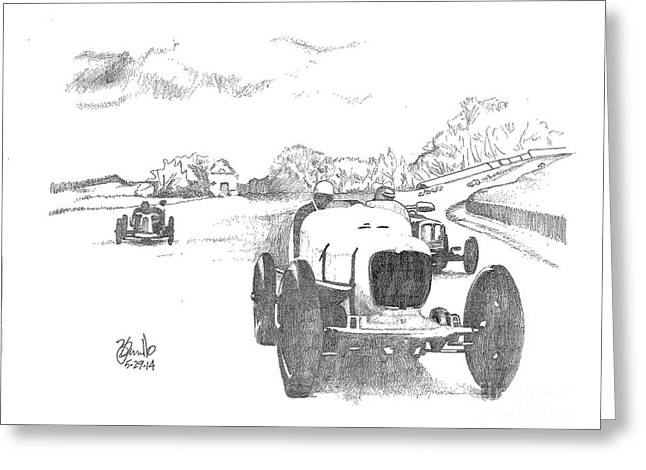 Indy Car Drawings Greeting Cards - The Race Greeting Card by Andooga Design