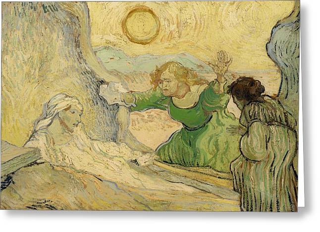 Religious Artwork Paintings Greeting Cards - The Raising of Lazarus Greeting Card by Vincent van Gogh