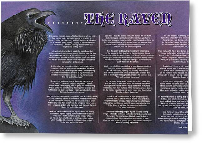 Raven Pastels Greeting Cards - The Raven Greeting Card by John Hebb
