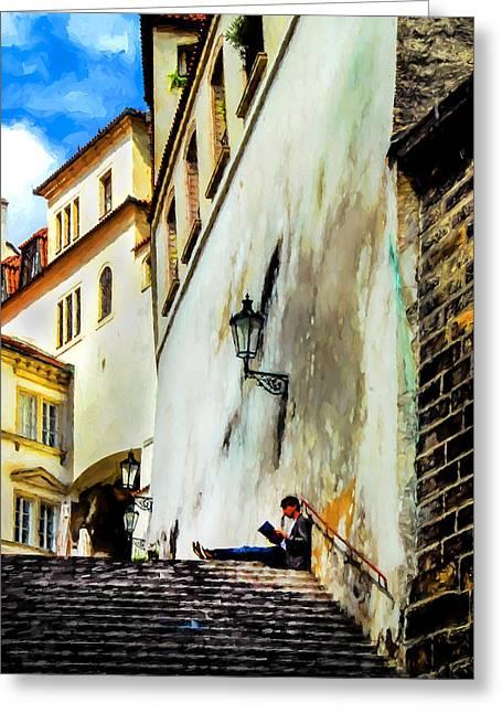 Praha Digital Art Greeting Cards - The Reader Greeting Card by James Black