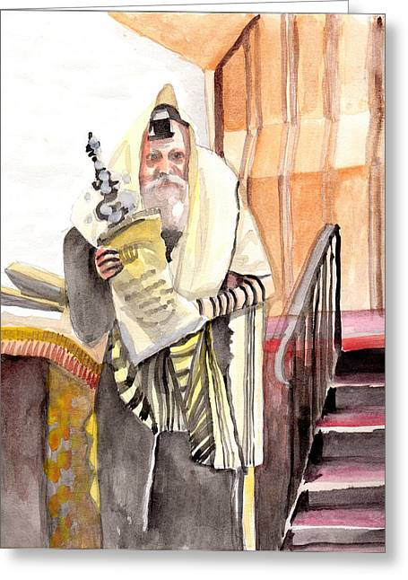 The Rebbe Greeting Card by Baruch Y Lebovits