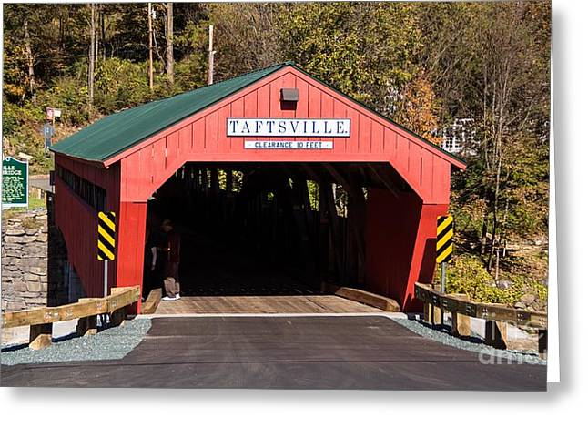 The Rebuilt Taftsville Covered Bridge. Greeting Card by New England Photography