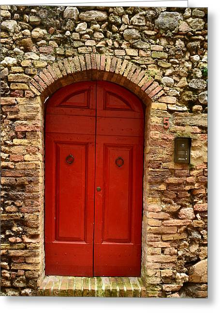 Entrance Door Greeting Cards - The Red Door Greeting Card by Dany  Lison