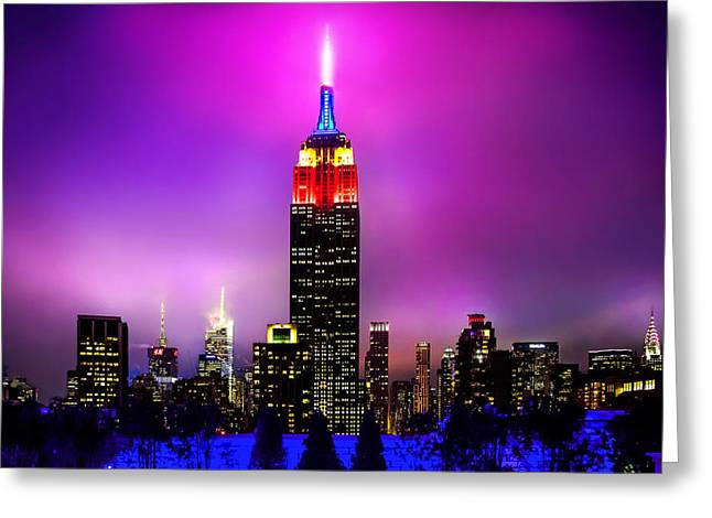Manhattan Greeting Cards - The Red Empire Greeting Card by Az Jackson