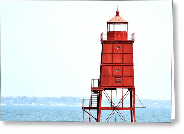 Redlight Greeting Cards - The Red Lighthouse Greeting Card by Hodari Art  Collection