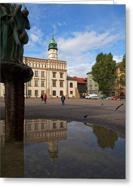 Krakow Greeting Cards - The Renaissance Town Hall And Central Greeting Card by Panoramic Images