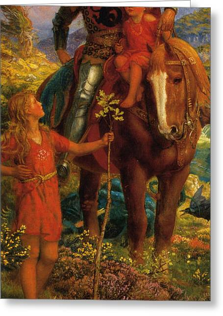 Little Boy Greeting Cards - The Rescue Greeting Card by Arthur Hughes