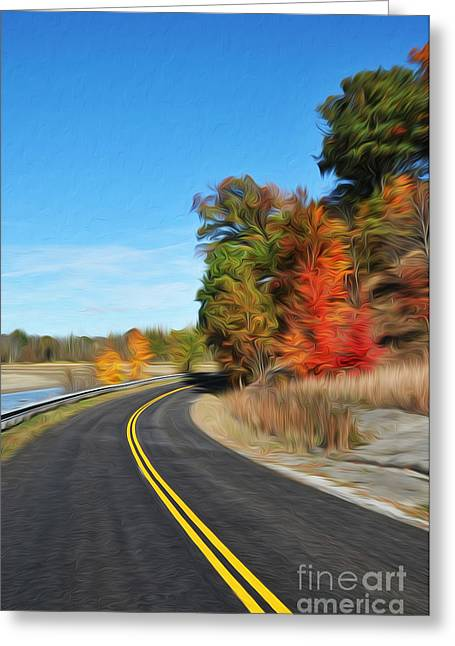 Yellow Line Greeting Cards - The Road Greeting Card by Brian Mollenkopf