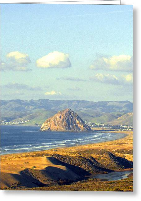 Barbara Snyder Greeting Cards - The Rock at Morro Bay Greeting Card by Barbara Snyder