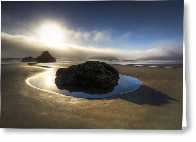 Foggy Beach Greeting Cards - The Rock Greeting Card by Debra and Dave Vanderlaan