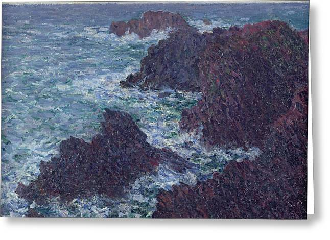 Monet Reproduction Greeting Cards - The Rocks at Belle-Ile Greeting Card by Claude Monet