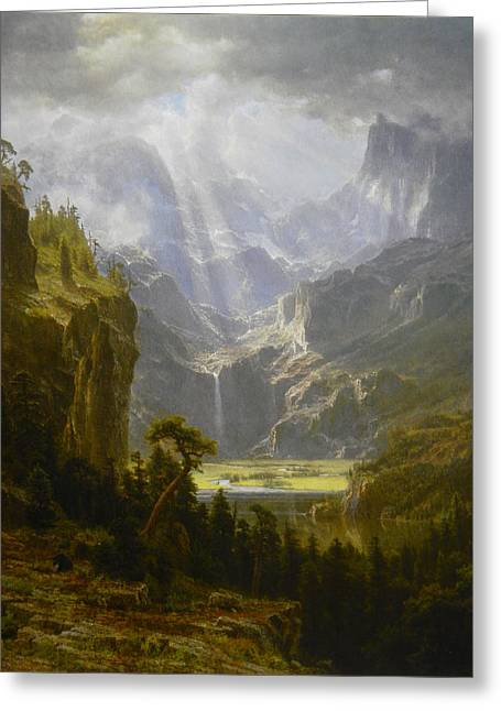 Bierstadt Drawings Greeting Cards - The Rocky Mountains Landers Peak Greeting Card by Celestial Images