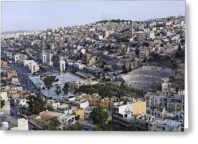 Jordan Photographs Greeting Cards - The Roman Theatre in the middle of the city of Amman Jordan Greeting Card by Robert Preston