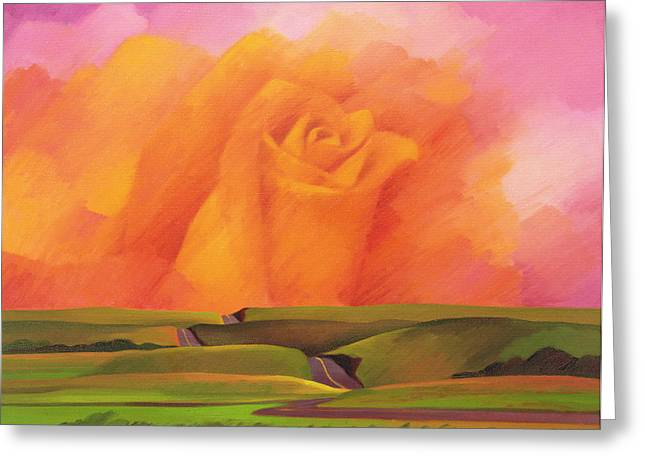 Surreal Landscape Greeting Cards - The Rose, 2001 Oil On Canvas Greeting Card by Myung-Bo Sim