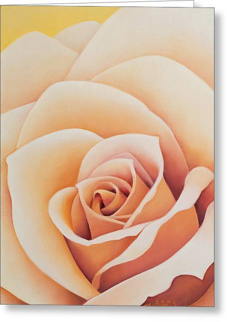 Pale Pink Greeting Cards - The Rose, 2003 Oil On Canvas Greeting Card by Myung-Bo Sim