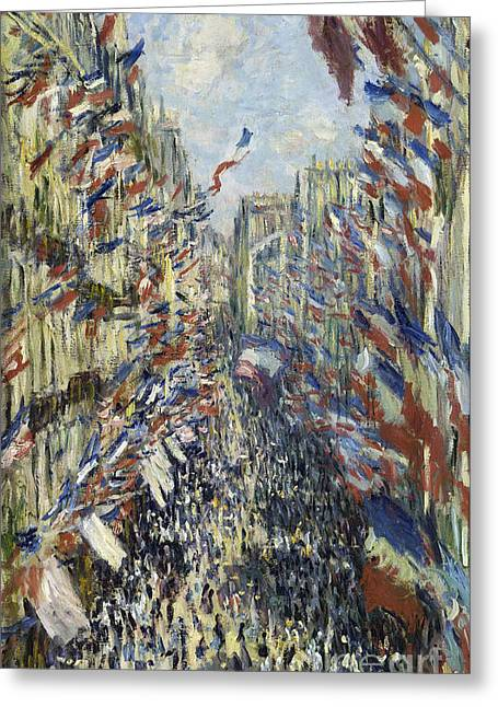 Vintage Painter Greeting Cards - The Rue Montorgueil in Paris Celebration of June 30 Greeting Card by Claude Monet