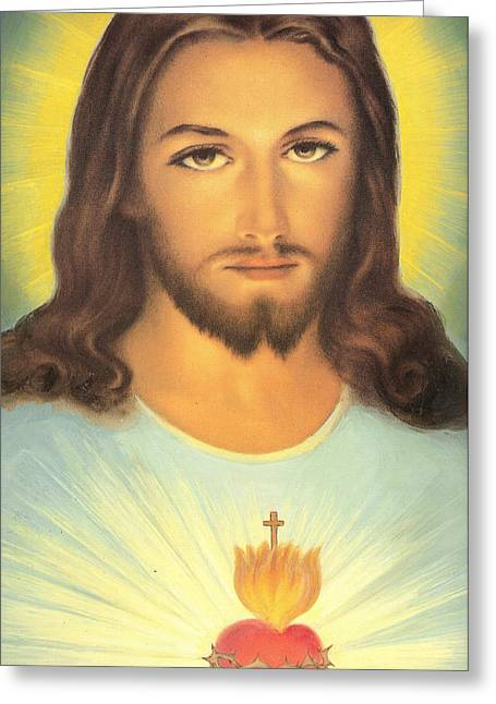 Christian Sacred Greeting Cards - The Sacred Heart Of Jesus Greeting Card by French School