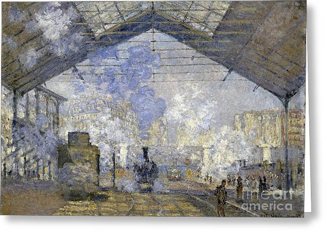 Vintage Painter Greeting Cards - The Saint-Lazare Station Greeting Card by Claude Monet