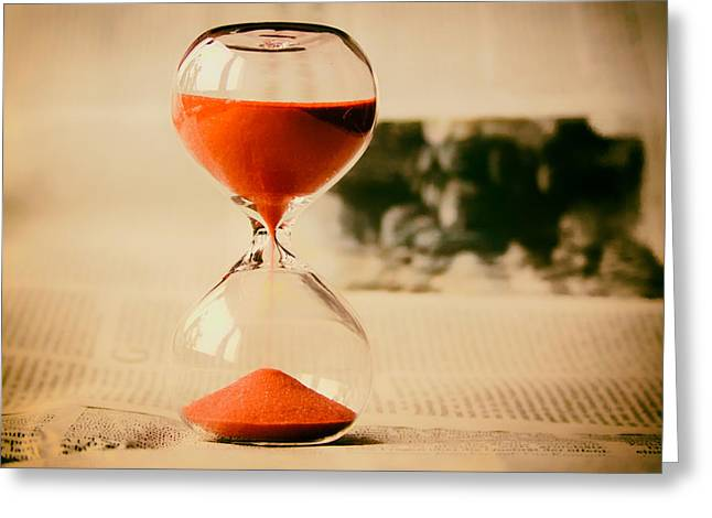 Red Hourglass Greeting Cards - The Sands of Time Greeting Card by Mountain Dreams