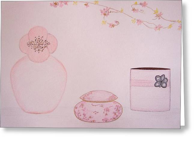 Interior Still Life Pastels Greeting Cards - The Scent of Pink  Greeting Card by Christine Corretti