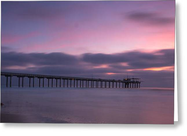 La Jolla Surfers Greeting Cards - The Scripps Pier Greeting Card by Peter Tellone