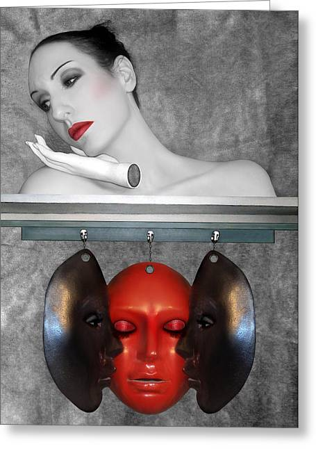 Self-portrait Photographs Greeting Cards - The secret masks of Guilt Pain and Shame - Self Portrait Greeting Card by Jaeda DeWalt